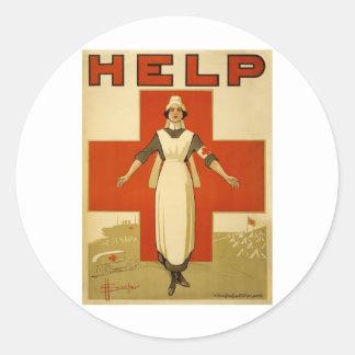 Vintage WW1 Red Cross Poster Round Sticker