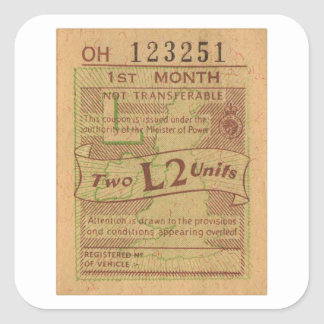 Vintage WW2 Canada Gas Ration Coupon 2 Liters Square Sticker