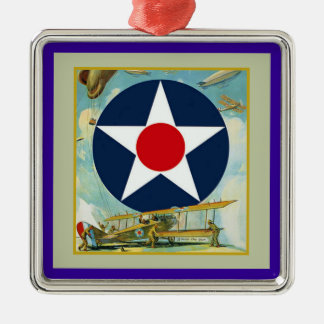 Vintage WWI Air Force Silver-Colored Square Decoration