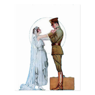 Vintage WWI Army Bride Postcard