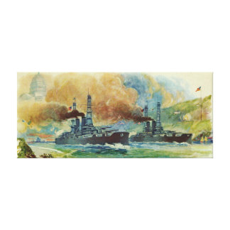 Vintage WWI Battleship Canvas Print