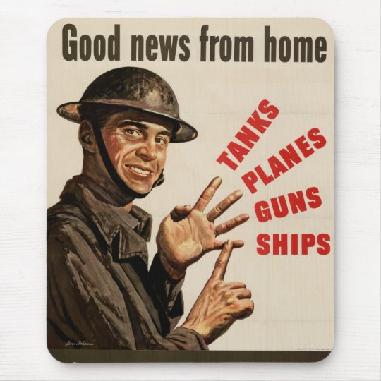 Vintage WWII War Poster Mouse Pad