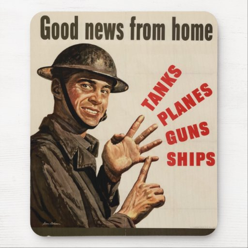 Vintage WWII War Poster Mousepads