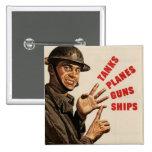 Vintage WWII War Poster Pins