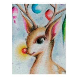 vintage Xmas Bambi Postcard