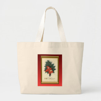 Vintage xmas boy with a Christmas tree Bags