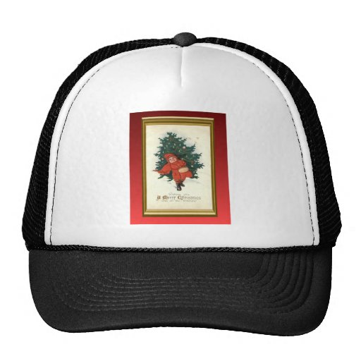 Vintage xmas boy with a Christmas tree Trucker Hat