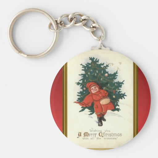 Vintage xmas boy with a Christmas tree Keychains