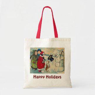 vintage xmas children budget tote bag