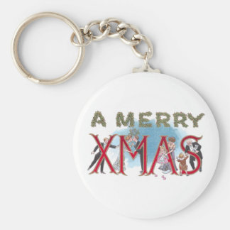 Vintage XMAS Formal Wear Partiers Basic Round Button Key Ring