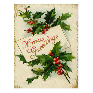 Vintage Xmas Greetings Postcard