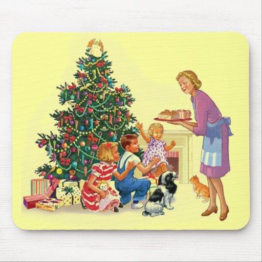 Vintage Xmas Mom & Kids Mouse Pad