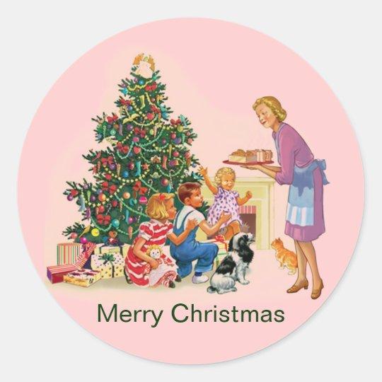 Vintage Xmas Mum & Kids Classic Round Sticker