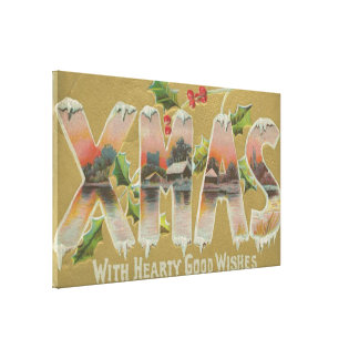 Vintage Xmas Wishes Gallery Wrapped Canvas