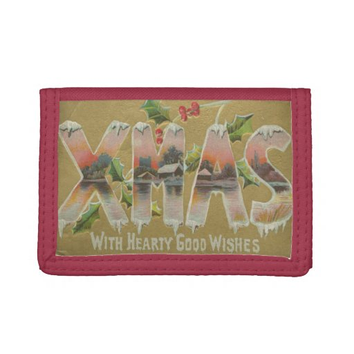 Vintage Xmas Wishes Trifold Wallets