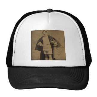 Vintage Yale Football Player 1880s Stereoview Mesh Hat