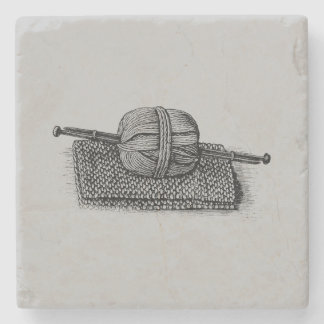 Vintage Yarn and Knitting Stone Beverage Coaster