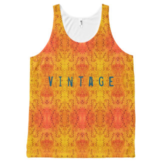 Vintage yellow All-Over print tank top