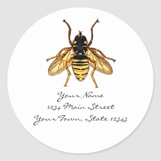 Vintage Yellow and Black Bee Classic Round Sticker