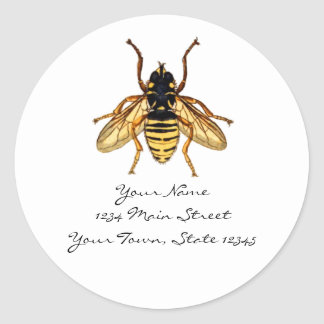Vintage Yellow and Black Bee Round Sticker