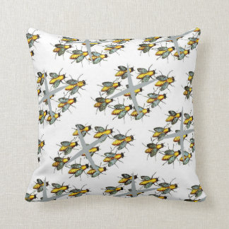 Vintage Yellow and Gray Bee Pattern Pillow