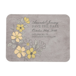 Vintage Yellow and Gray Floral Save The Date Rectangular Photo Magnet