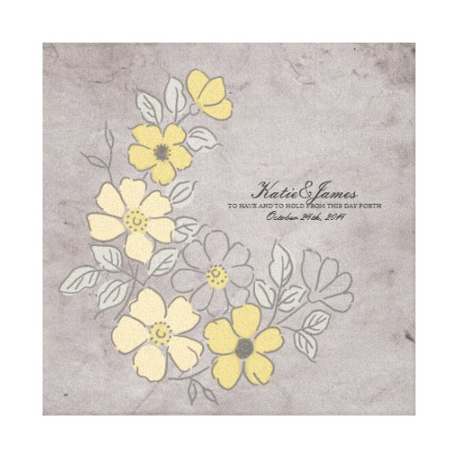 Vintage Yellow and Gray Floral Wedding Gallery Wrap Canvas