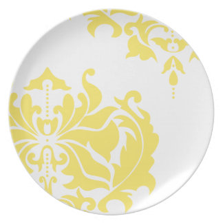 Vintage Yellow and White Damask Party Plate