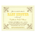 Vintage Yellow Baby Shower Invitation