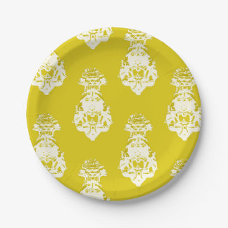 Vintage yellow background 7 inch paper plate