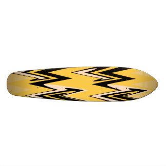 Vintage Yellow, Black Zigzap Abstract Art Deco 21.6 Cm Old School Skateboard Deck