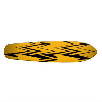 Vintage Yellow, Black Zigzap Abstract Art Deco 2 Skateboard