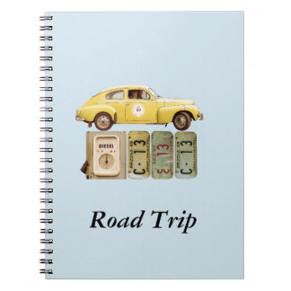 Vintage Yellow Car Spiral Notebook