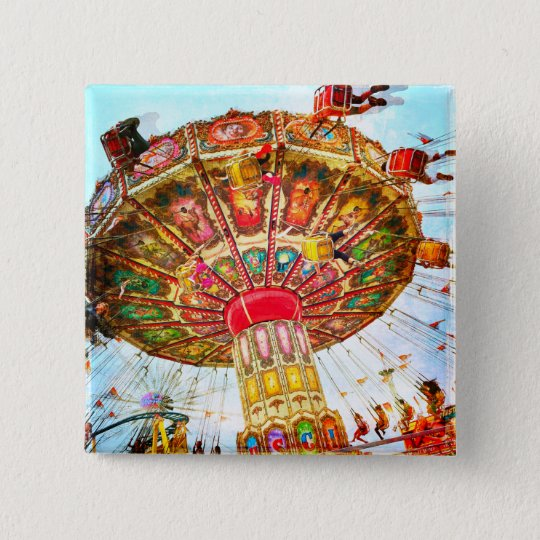 Vintage yellow carnival swing ride photo button