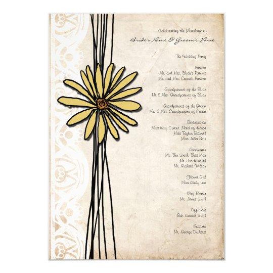 Vintage Yellow Daisy Wedding Program
