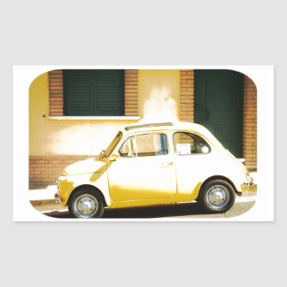 Vintage Yellow Fiat 500 in Italy Rectangular Sticker
