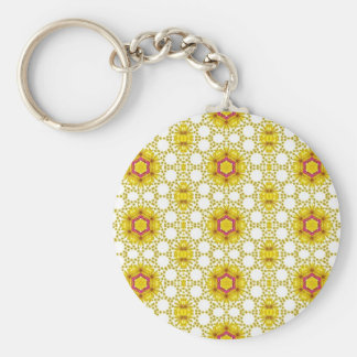 Vintage yellow floral pattern keychains
