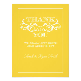 Vintage Yellow Flourish Wedding Thank You Cards 11 Cm X 14 Cm Invitation Card