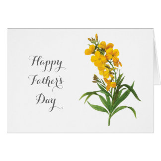 vintage yellow flowers happy father's day greeting card