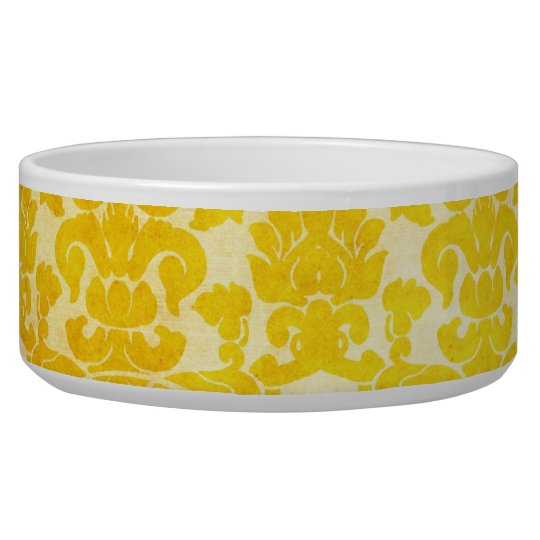 Vintage Yellow Gold Floral Damask Dog Bowl