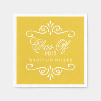 Vintage Yellow | Graduation Napkins Disposable Serviettes