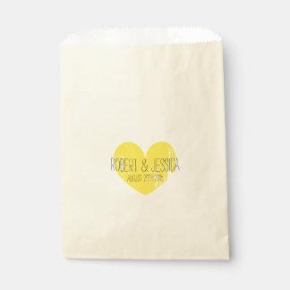 Vintage yellow heart paper wedding favor bags