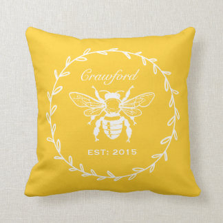 Vintage Yellow Honey Bee Laurel Honeycomb Monogram Cushion