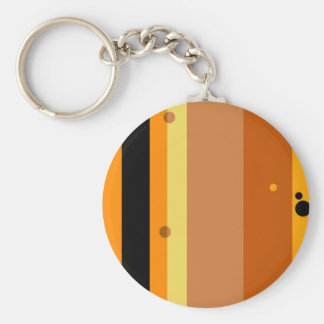 Vintage Yellow, Orange, Brown Dots Striped Pattern Basic Round Button Key Ring