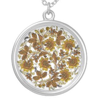 Vintage Yellow Orange Floral Silver Necklace