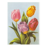 Vintage Yellow, Pink, and Purple Tulips Postcard