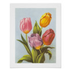 Vintage Yellow, Pink, and Purple Tulips Poster