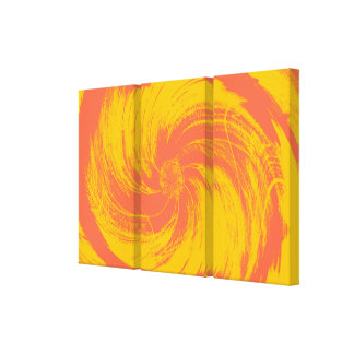 Vintage Yellow Pink Flower Art Design Abstract Stretched Canvas Print