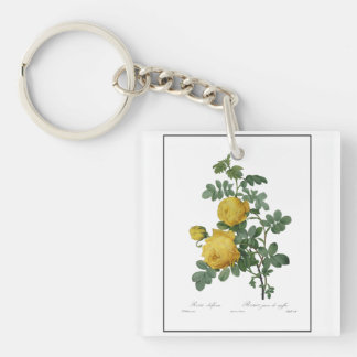 Vintage yellow rose painting keychain