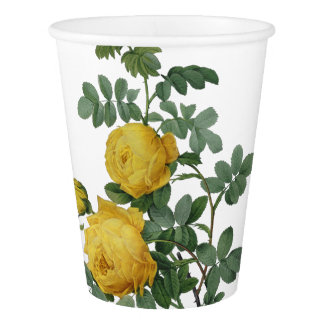 Vintage yellow rose painting paper cup
